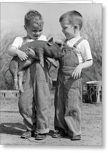 1950s Boys In Striped Overalls Holding Greeting Card