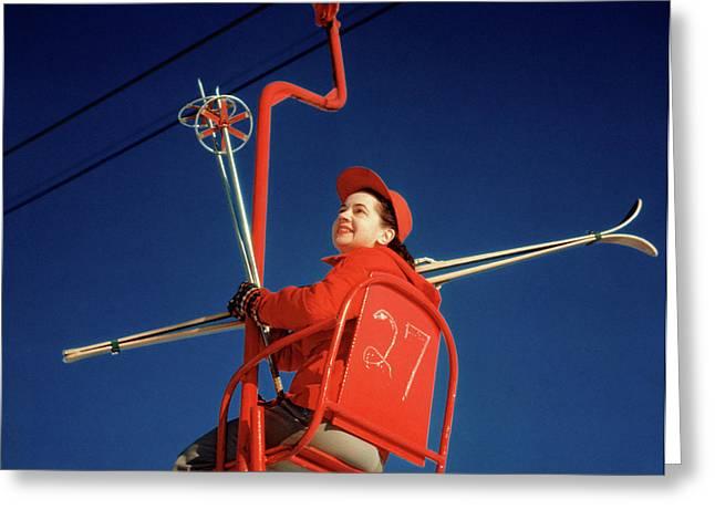 1950s Brunette Woman Red Ski Hat Jacket Greeting Card