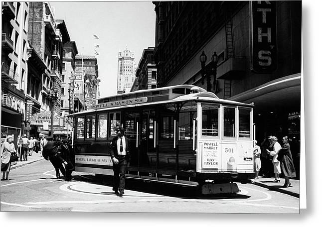 1950s Cable Car Turning Around At End Greeting Card