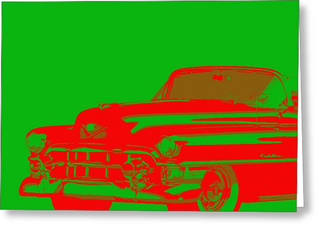 1950s Cadillac Red On Green Abstract Greeting Card