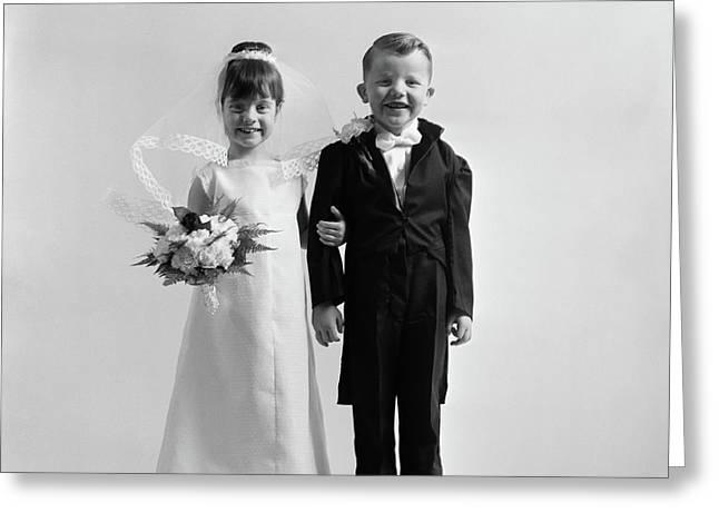 1950s Children Groom Bride Wedding Greeting Card