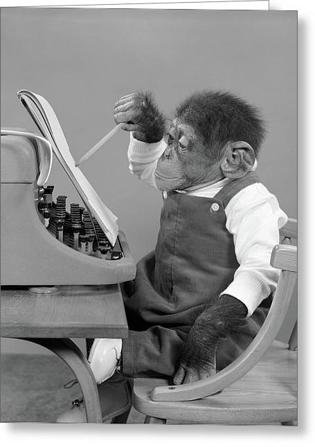 1950s Chimp In Overalls Sitting Greeting Card