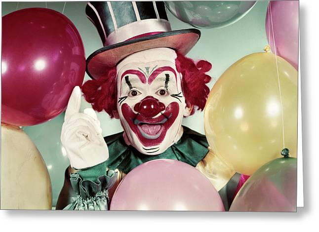 1950s Circus Clown Portrait Smiling Greeting Card