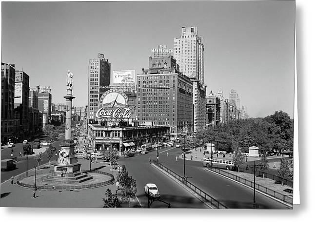 1950s Columbus Circle Looking North Greeting Card