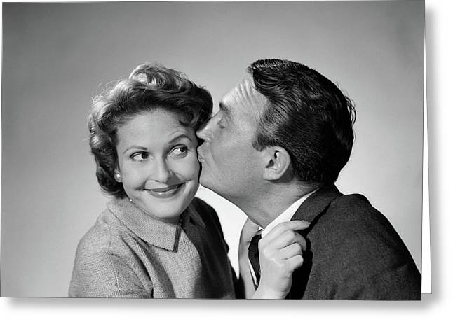 1950s Couple Enthusiastic Man Kissing Greeting Card
