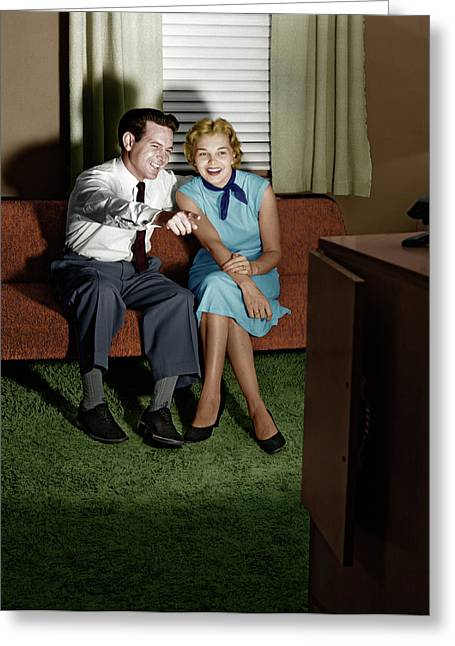1950s Couple In Darkened Living Room Greeting Card