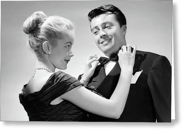 1950s Couple In Formal Attire Woman Greeting Card