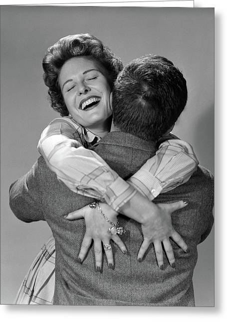 1950s Couple Man And Happy Woman Greeting Card