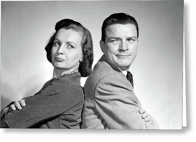 1950s Couple Sitting Back To Back Arms Greeting Card