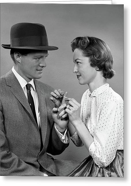 1950s Couple Woman Tying A Sting Greeting Card