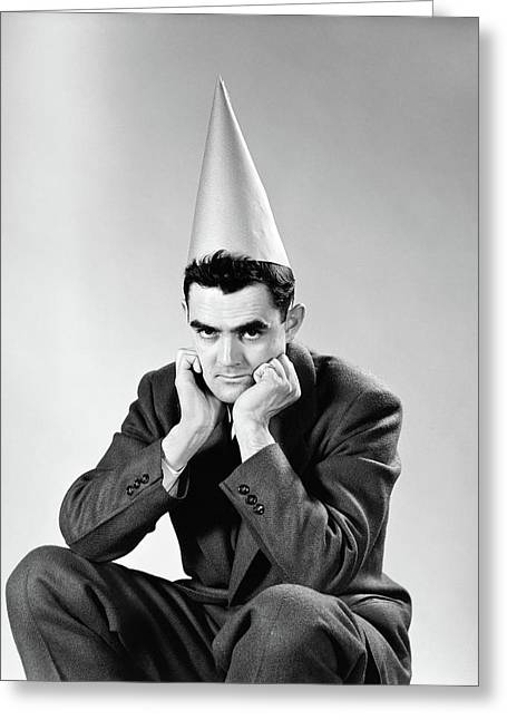 1950s Disguntled Man Wearing Dunce Cap Greeting Card