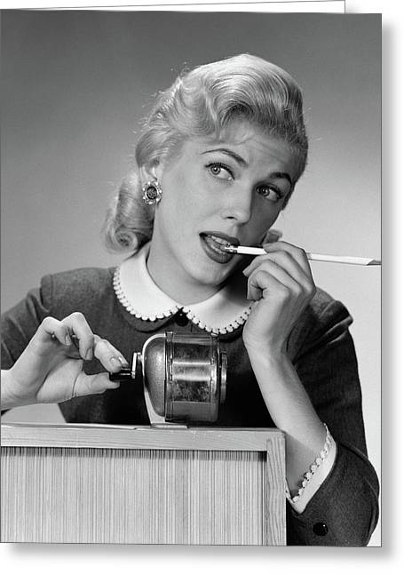1950s Distracted Blond Woman Office Greeting Card