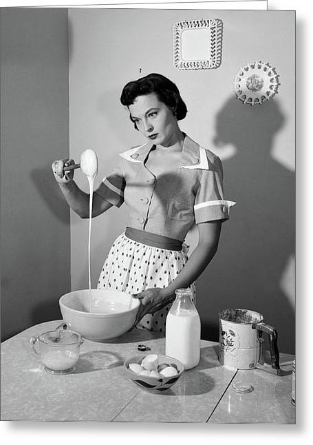 1950s Distracted Housewife Mixing Greeting Card