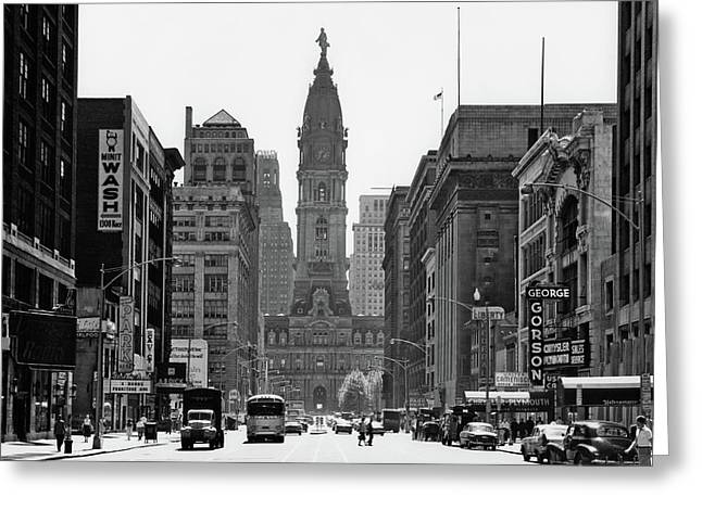 1950s Downtown Philadelphia Pa Usa Greeting Card