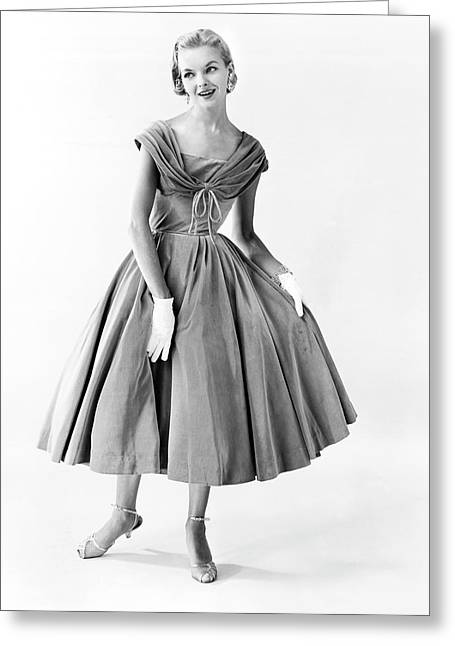 1950s Evening Wear Fashion Greeting Card by Underwood Archives