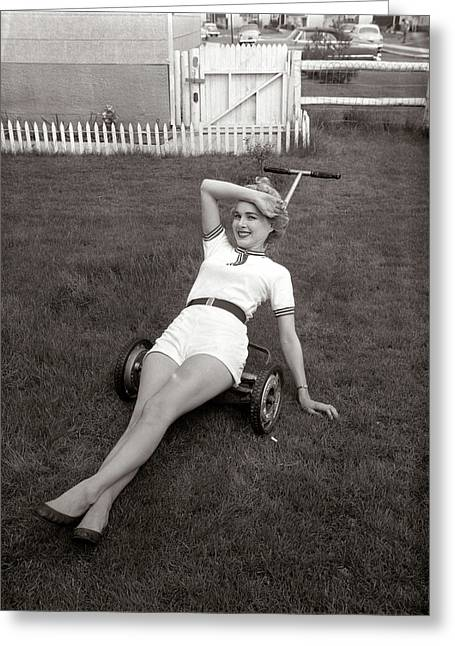 1950s Exhausted Woman Wearing White Greeting Card