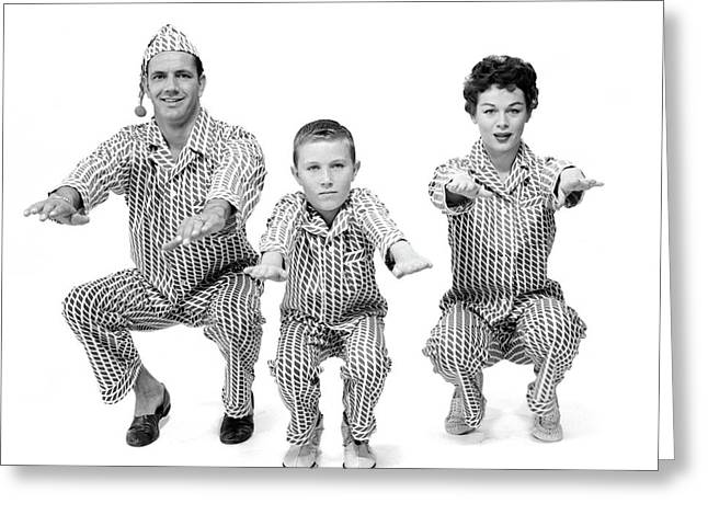 1950s Family Of 3 In Matching Pajamas Greeting Card
