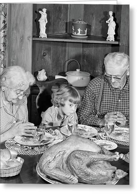 1950s Family Thanksgiving Dinner Greeting Card