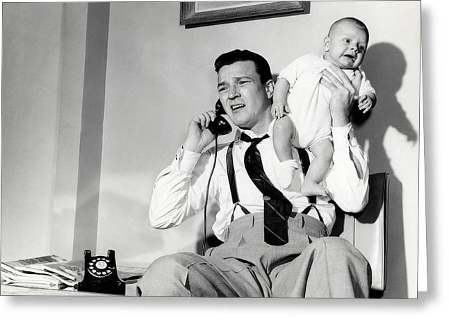 1950s Father Holding Baby While Greeting Card