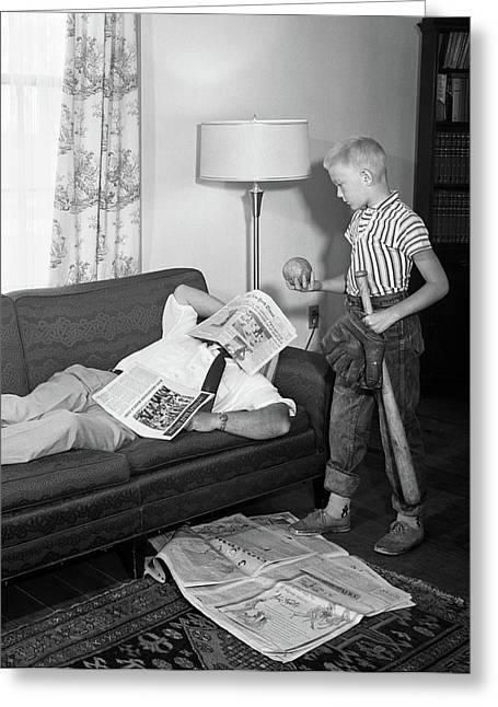 1950s Father Lying On A Sofa Greeting Card