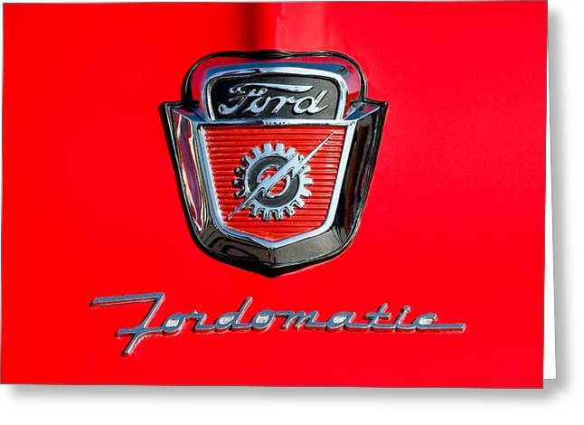 1950's Ford F-100 Fordomatic Pickup Truck Hood Emblems Greeting Card by Jill Reger
