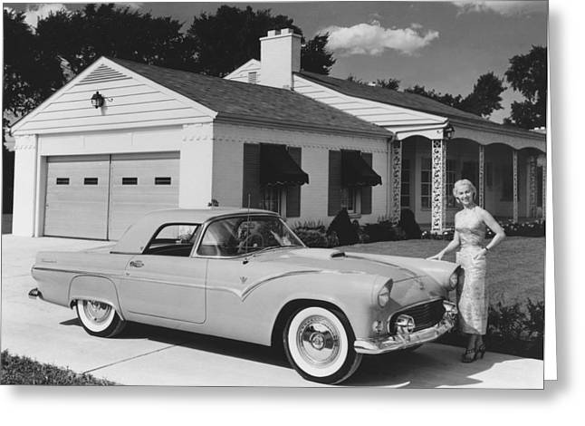 1950s Ford Thunderbird Greeting Card by Underwood Archives