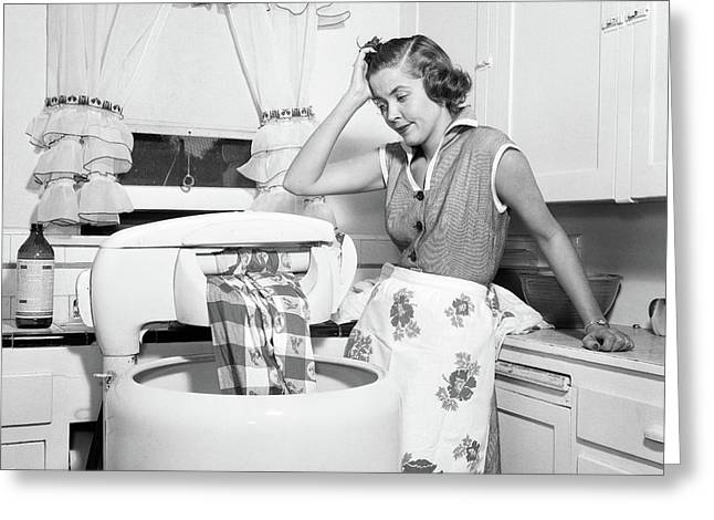 1950s Frustrated Housewife With Jammed Greeting Card