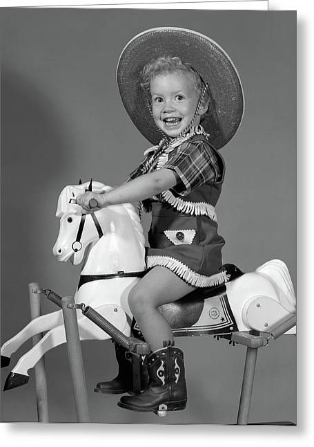 1950s Girl Dressed As Cowgirl Riding Greeting Card