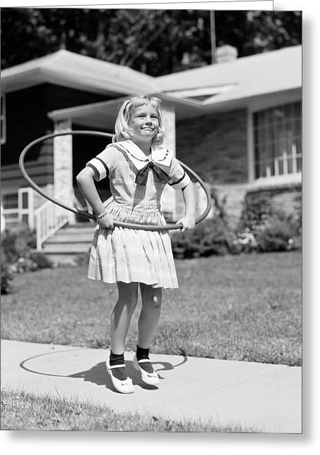 1950s Girl In Dress On Suburban Greeting Card