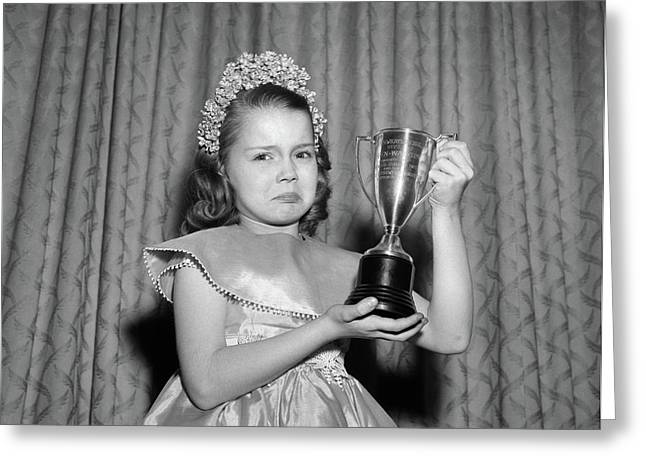 1950s Girl Tiara Satin Dress Holding Greeting Card