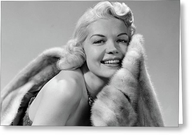 1950s Glamorous Woman Posing Wearing Greeting Card