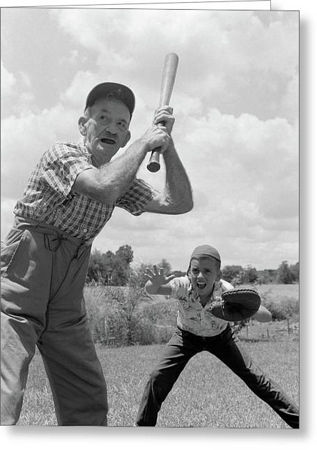 1950s Grandfather At Bat With Grandson Greeting Card