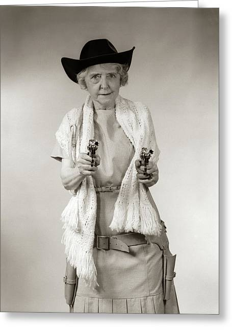 1950s Granny Cowgirl Wearing Hat & Greeting Card