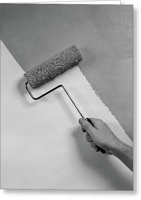 1950s Hand Using Paint Roller On Wall Greeting Card