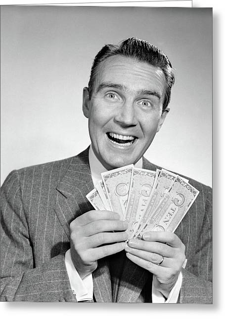 1950s Happy Man With Exaggerated Smile Greeting Card