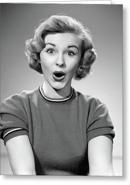 1950s Head Shot Of Woman Eyes And Mouth Greeting Card
