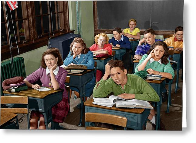 1950s High School Classroom Of Bored Greeting Card