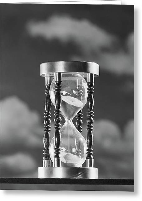 1950s Hourglass Against Background Greeting Card
