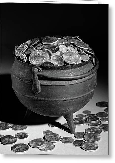 1950s Iron Pot Overflowing With Coins Greeting Card