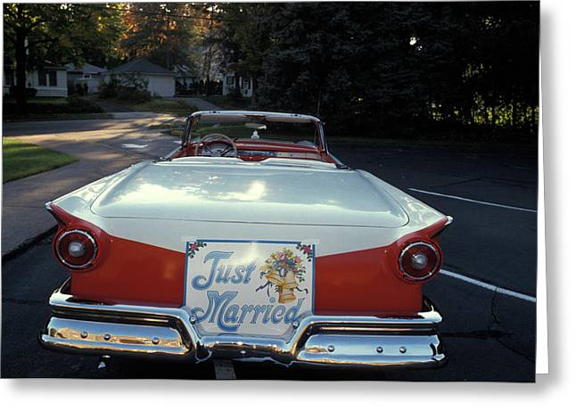 1950s Just Married Sign On Back Of Ford Greeting Card