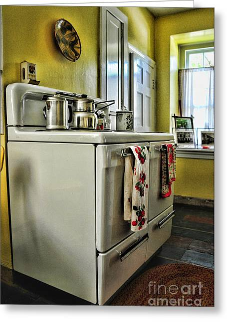 1950's Kitchen Stove Greeting Card by Paul Ward