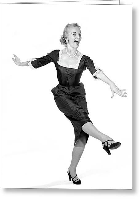 1950s Laughing Happy Excited Woman Greeting Card
