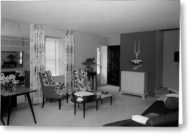 1950s Living Room Interior Greeting Card