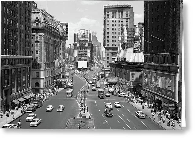 1950s Looking North At Times Square Greeting Card