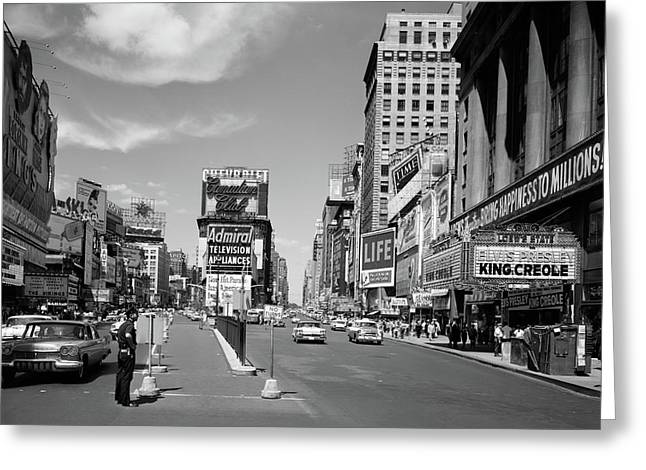 1950s Looking North Up Broadway Greeting Card