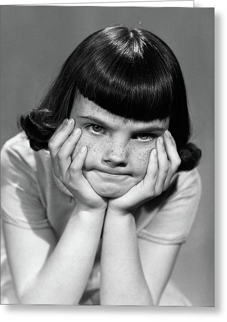 1950s Mad Angry Frustrated Young Girl Greeting Card