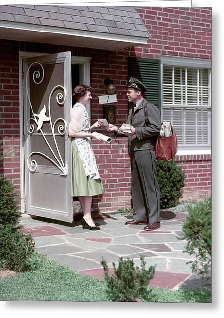 1950s Mailman Letter Carrier Delivering Greeting Card
