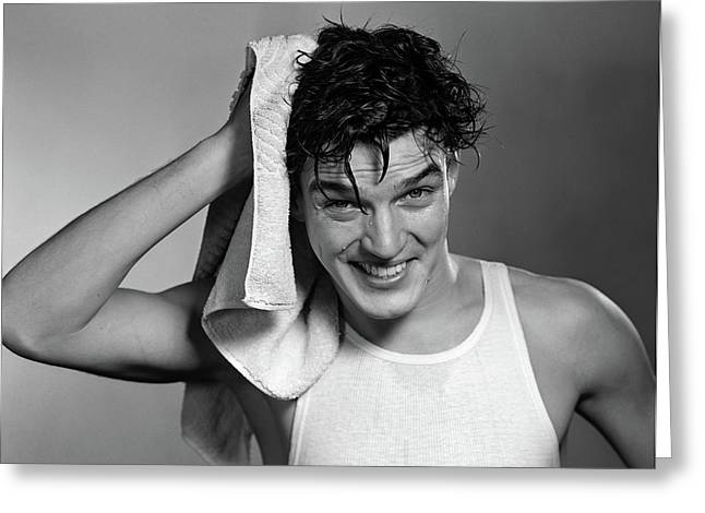 1950s Man Drying Hair After Shower Greeting Card