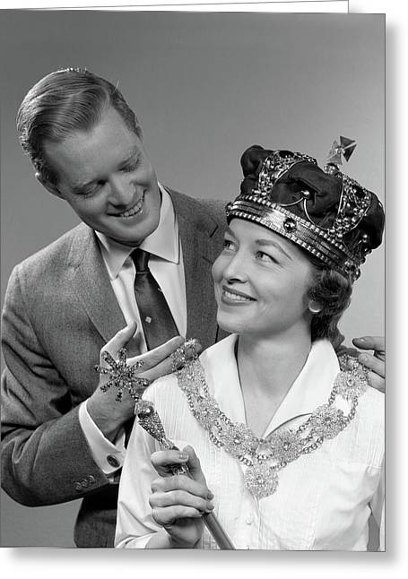 1950s Man Holding Royal Necklace Greeting Card