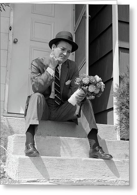 1950s Man In Suit And Hat Holding Greeting Card